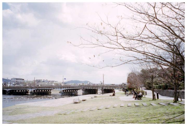 鴨川沿いの光景