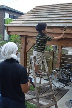 自転車小屋お手伝い