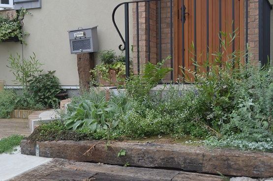 DIYポストと玄関まわり庭