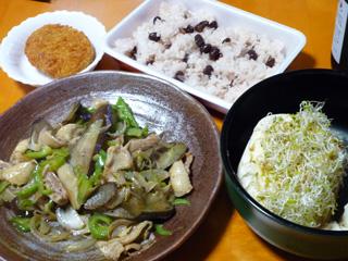 鶏皮と野菜の炒め