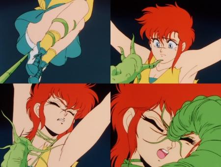 獣神ライガー 神代まいが触手の怪物に襲われるピンチシーンでパンチラ93