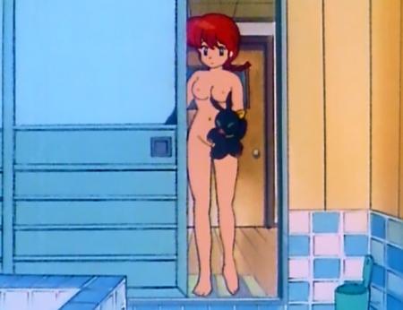 らんま1/2TV版 早乙女らんまの全裸入浴シーン乳首40