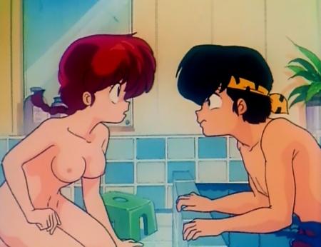 らんま1/2TV版 早乙女らんまの全裸入浴シーン乳首55