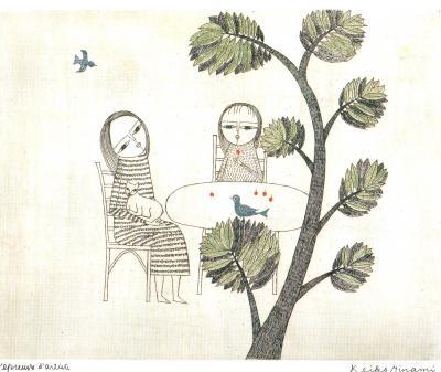 南桂子 テーブルと2人の少女 (2)