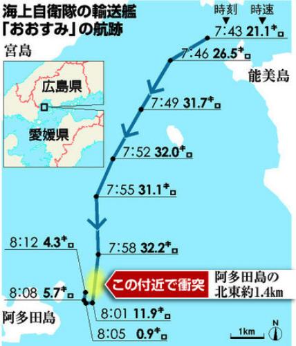 海自艦、衝突直前に危険認識か ほぼ一定速度で直進(朝日新聞デジタル) 写真 Yahoo ニュース