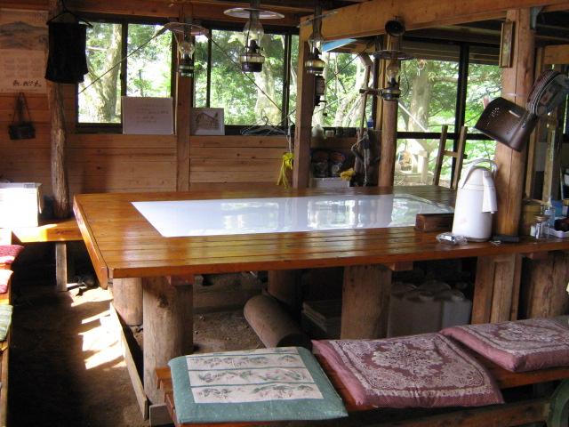 見晴茶屋の食堂のテーブル