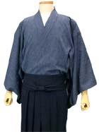 藍染風涼木綿の半着と袴