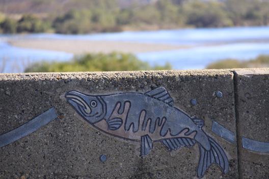 国道7号線 荒川橋 鮭の壁画