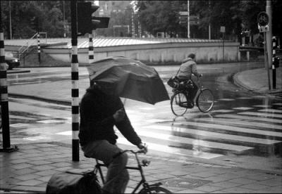 傘 チャリ