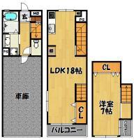 アスールⅢ(101号室)1LDK+駐車場 3階建メゾネット