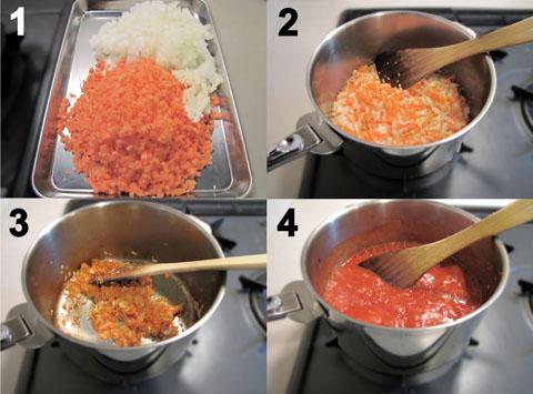 ソフリットを使ったトマトソース