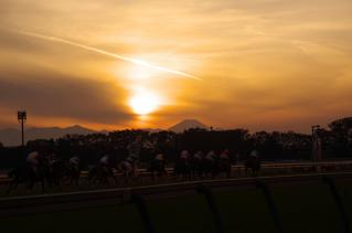 夕焼けで浮かび上がる富士・・・最高です