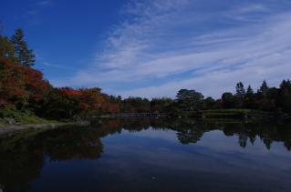 ブルースカイと水面に映る秋