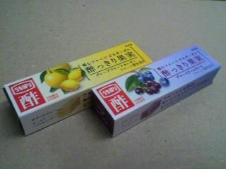 明治「酢っきり果実ガム グレープフルーツ&レモン」と「ブルーベリー&カシス」