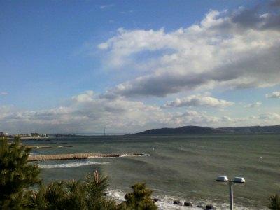 海、大橋、淡路島