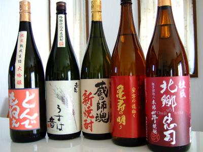 とんでもねぇ 熟成生詰大吟醸、豪気 うすは音、蔵の師魂新焼酎、喜寿の明り、杜氏 北郷の忠司