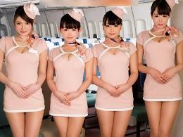 可愛いミニスカ巨乳CAのエッチな機内サービス