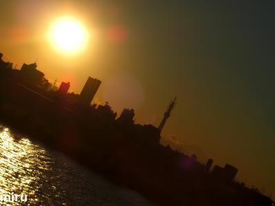 夕陽、スカイツリー、富士山