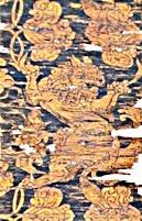紫地獅子唐草文錦