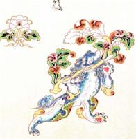 彩絵獅子唐草文白布文様復元図02