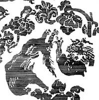花唐草獅子文綾・復元図・正倉院