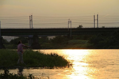 多摩川の夕焼け