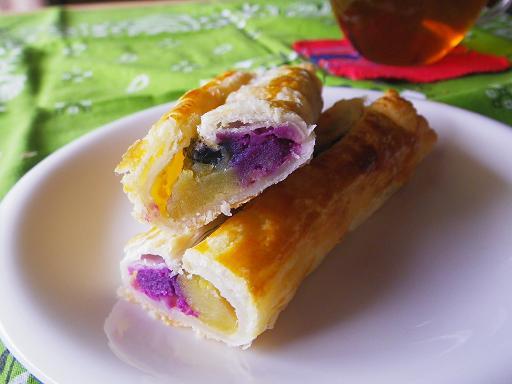 2011.11.2二種のお芋と黒豆のパイ断面