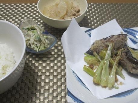 13日 ナスのはさみ揚げ 島ラッキョウのてんぷら 大根と豚肉の煮物 ごぼうサラダ