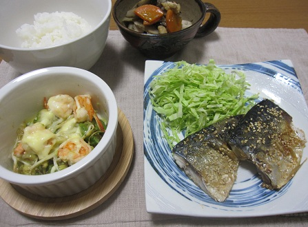 27日 塩サバゴマダレ エビアボカドマヨチーズ 根菜の煮物