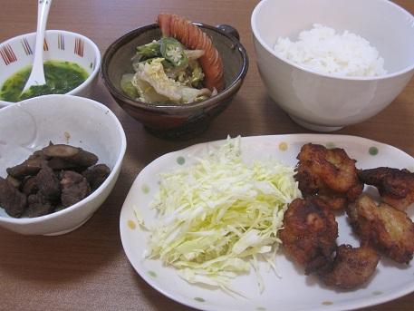 4日 からあげ(シークワーサーソース) 白菜とウィンナーのスープ煮 ごぼうと牛肉の甘辛煮