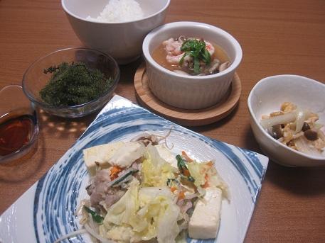 1日 豆腐チャンプルー たまねぎの塩麹炒め なんちゃって茶碗蒸し