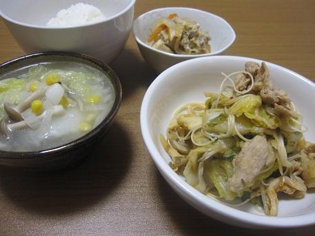 14日 豚キムチソーメンチャンプルー 高野豆腐の卵とじ 中華スープ