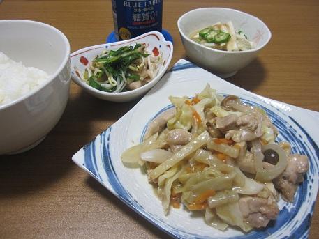 26日 鶏のカシューナッツ(クルミ)炒め にらもやし 長いもサラダ