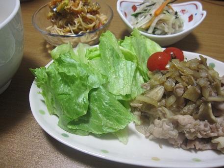28日 豚と玉ねぎの甘辛炒め 冷製パスタ風そうめん 豚肉の磯煮