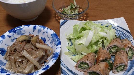 3日 豚肉オクラ巻き レンチンキャベツ 大根とナスの麻婆春雨 きゅうりとみょうがの和え物