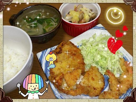 19日 チキンカツ&ミニミニエビフライ 野菜スープ シメジとナスのチーズ焼き