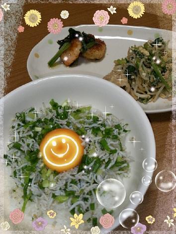 20日 シラス丼 えびマヨ 豚肉と小松菜の炒め物