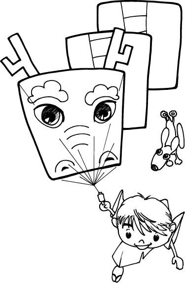 竜イラストの凧揚げ