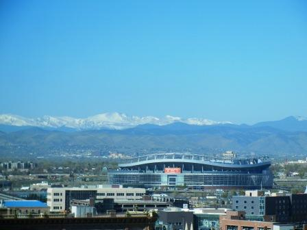 Mile High Stadium and Rocky Mountains