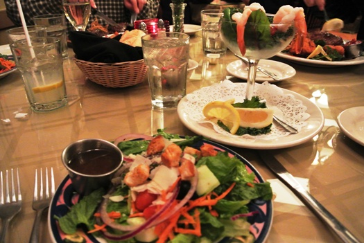 Maket Salad and Shrimp Coktail