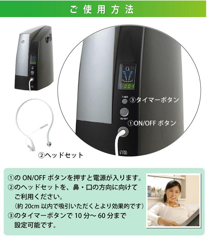 高濃度酸素発生器 オーツーパラダイス VIGO-VSA-C-2LK ご使用方法