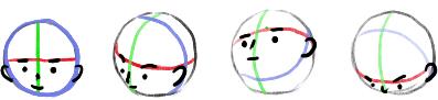ボールに色を巻きつけた顔
