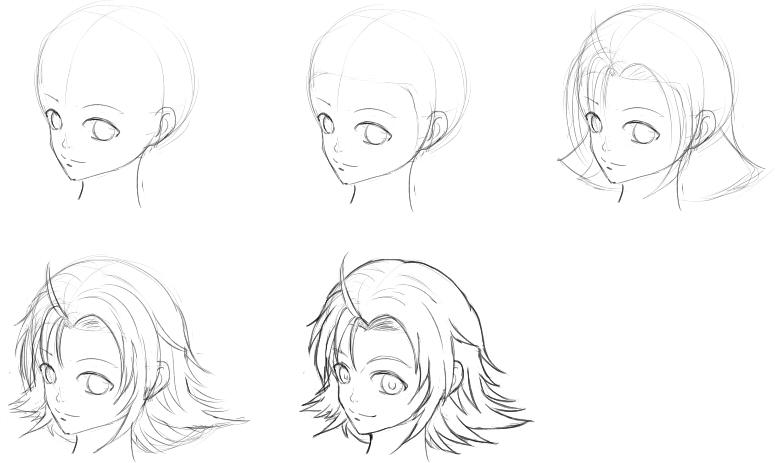 髪の描き方順