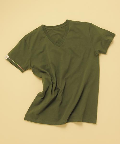 VネックTシャツ(カーキ)_フロント