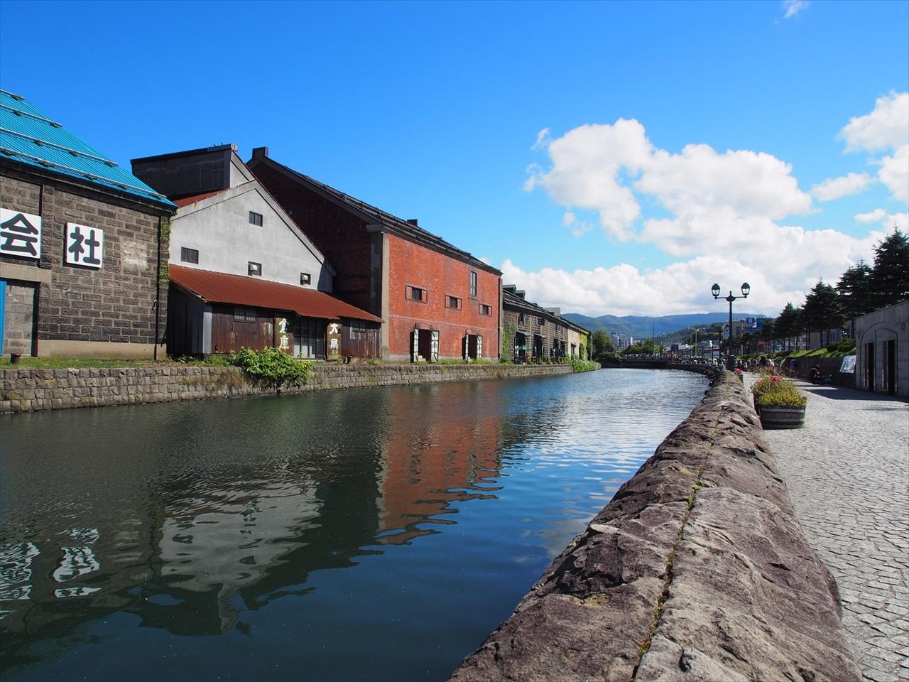 青空の下の小樽運河