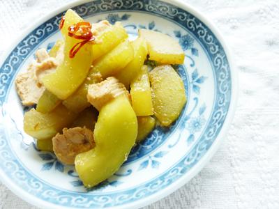 白瓜と鶏肉の冷たい煮びたし