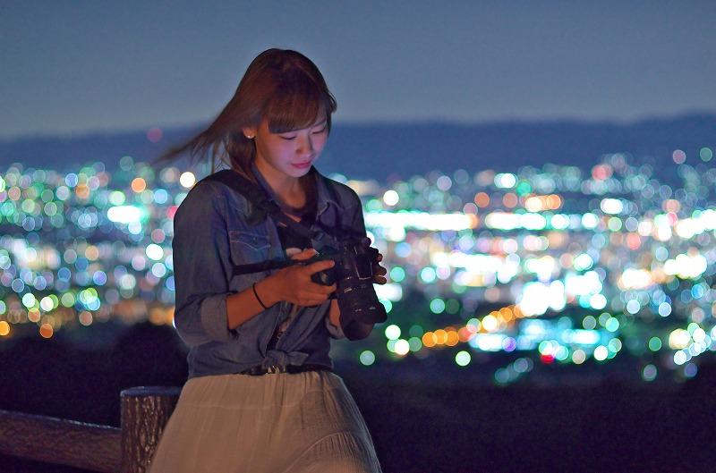 若草山 マジックアワー 夜景 ポートレート