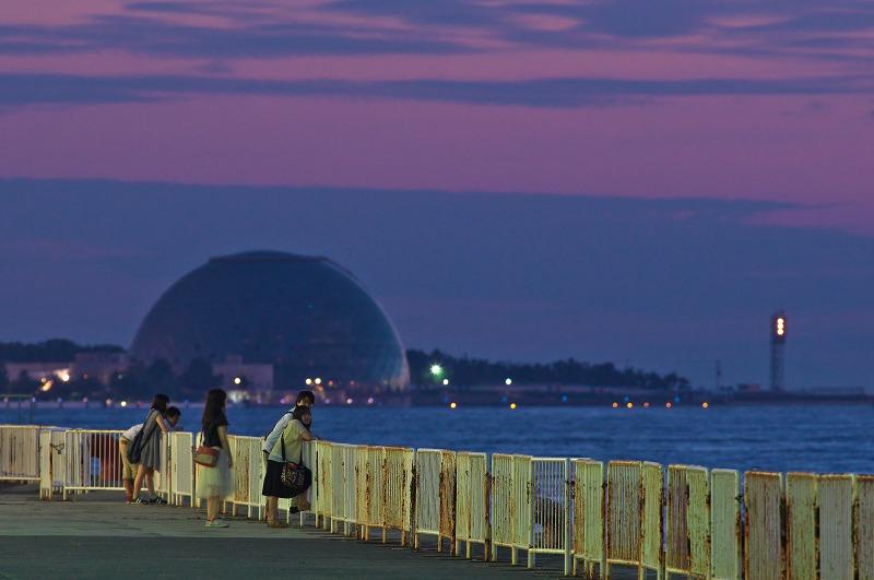 天保山のスーパームーンと夕景・夜景