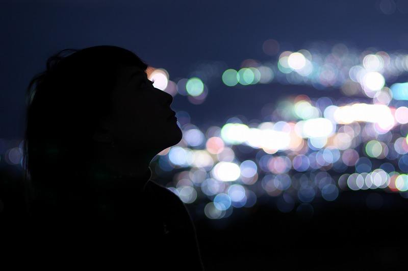 鷲ヶ峰コスモスパーク 夜景 ナイトポートレート
