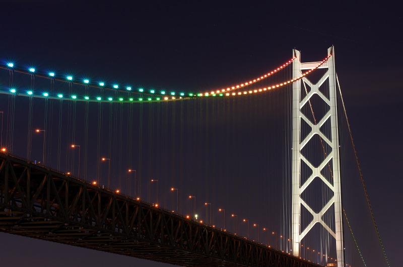 淡路島 明石海峡大橋 夜景